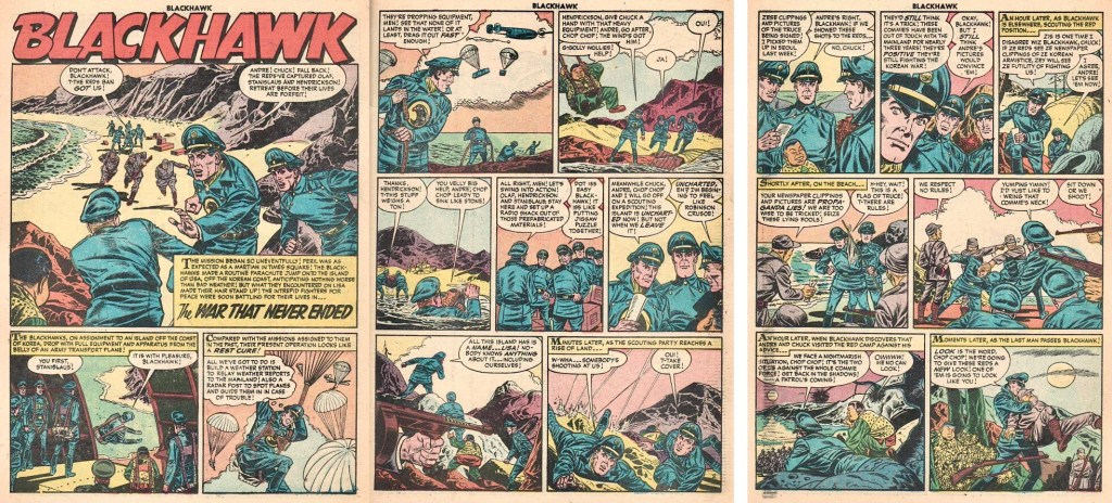 Inledande uppslag och femte sidan, med bilden som blev omslag till Höken-numret, ur episoden The War That Never Ended ur Blackhawk #99 (1956). ©Quality/Comic Favorites
