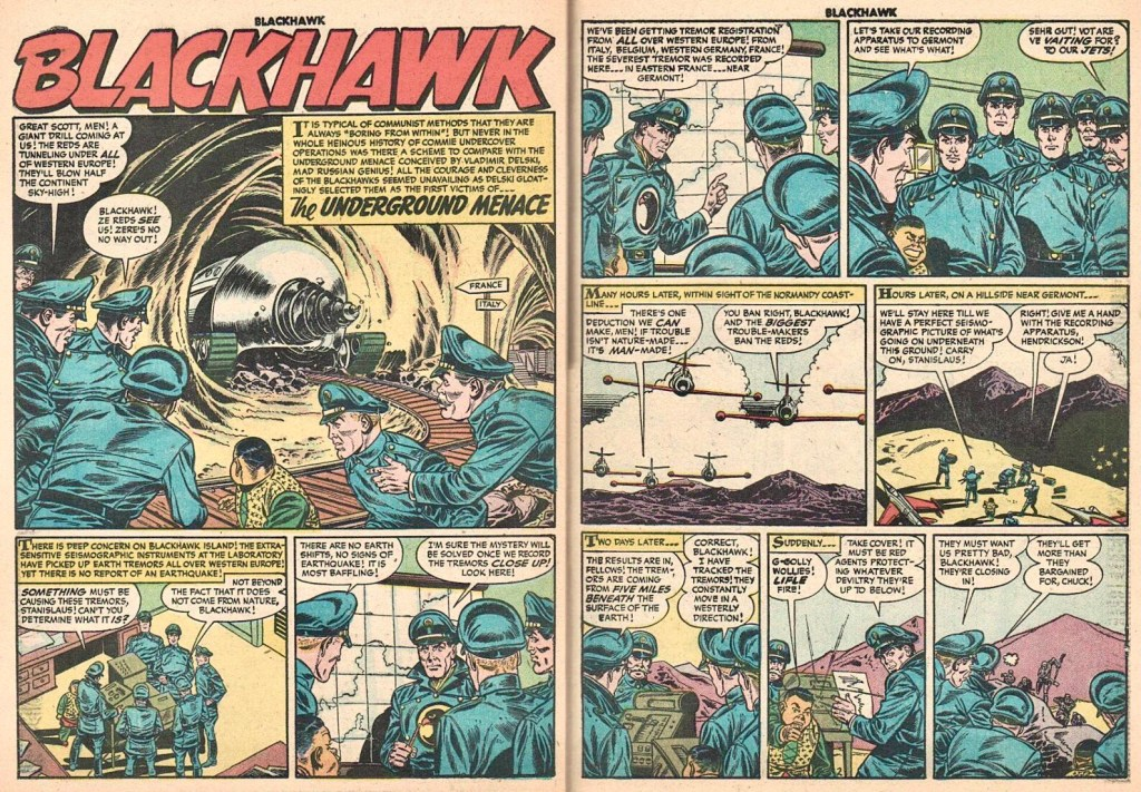 Inledande uppslag med episoden The Underground Menace ur Blackhawk #99 (1956). ©Quality/Comic Favorites