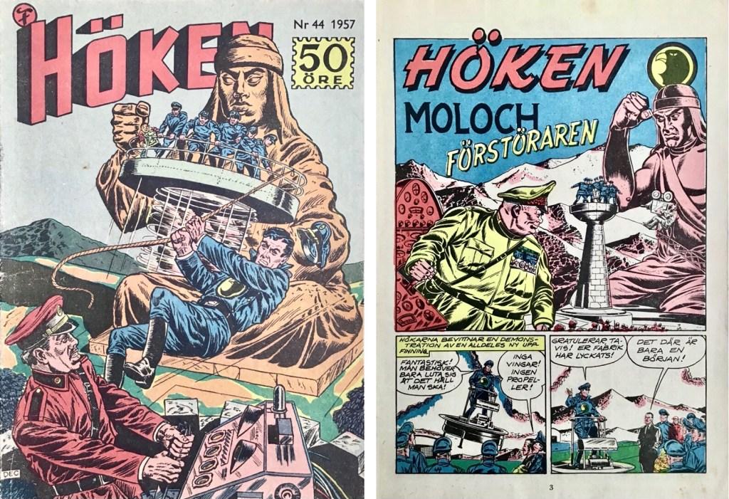 Omslag till Höken nr 44, 1957 och inledande sida ur Höken-serien. ©Formatic/EuropaPress