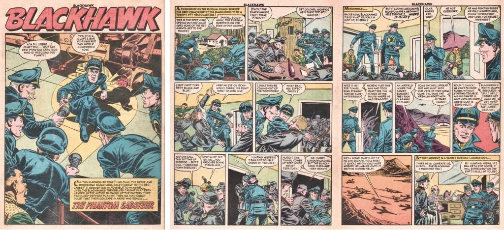 Inledande sidor med episoden The Phantom Saboteur ur Blackhawk #98 (1956). ©Quality/Comic Favorites