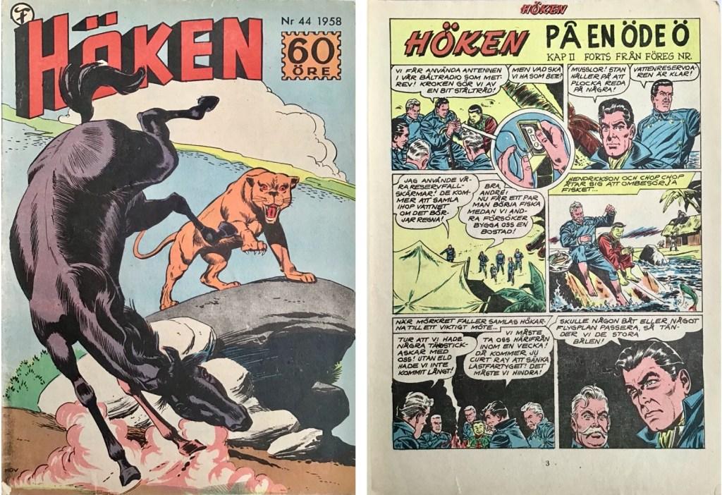 Omslag till Höken nr 44, 1958 och inledande sida ur Höken-serien. ©Formatic/EuropaPress