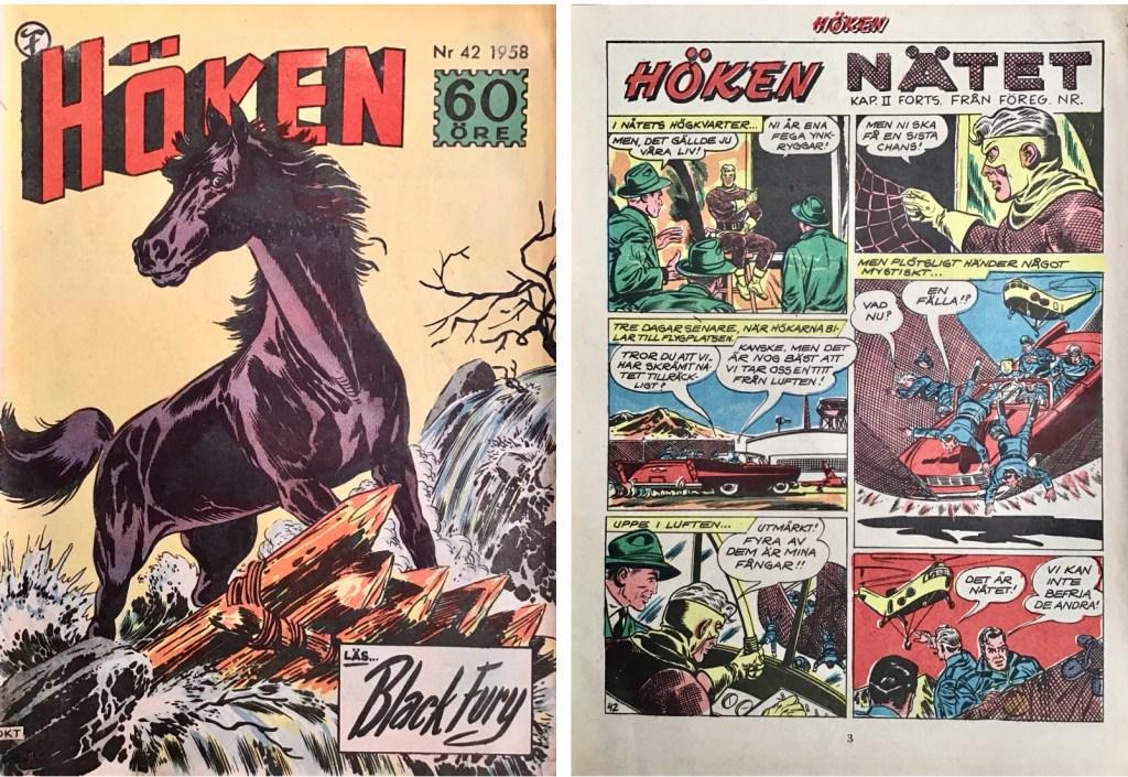 Omslag till Höken nr 42, 1958 och inledande sida ur Höken-serien. ©Formatic/EuropaPress