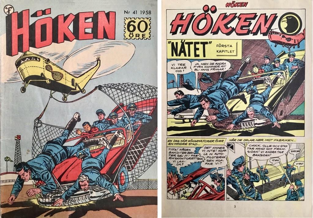 Omslag till Höken nr 41, 1958 och inledande sida ur Höken-serien. ©Formatic/EuropaPress