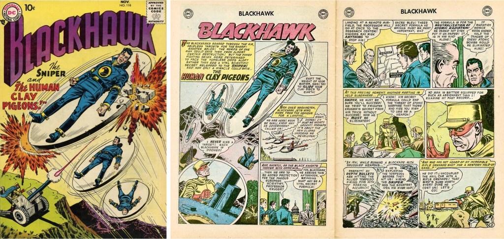 Omslag till Blackhawk #118 (1957) och inledande uppslag ur episoden The Human Clay Pigeons. ©DC