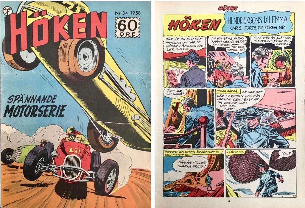 Omslag till Höken nr 34, 1958 och inledande sida ur Höken-serien. ©Formatic/EuropaPress