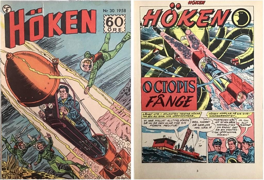 Omslag till Höken nr 30, 1958 och inledande sida ur Höken-serien. ©Formatic/EuropaPress