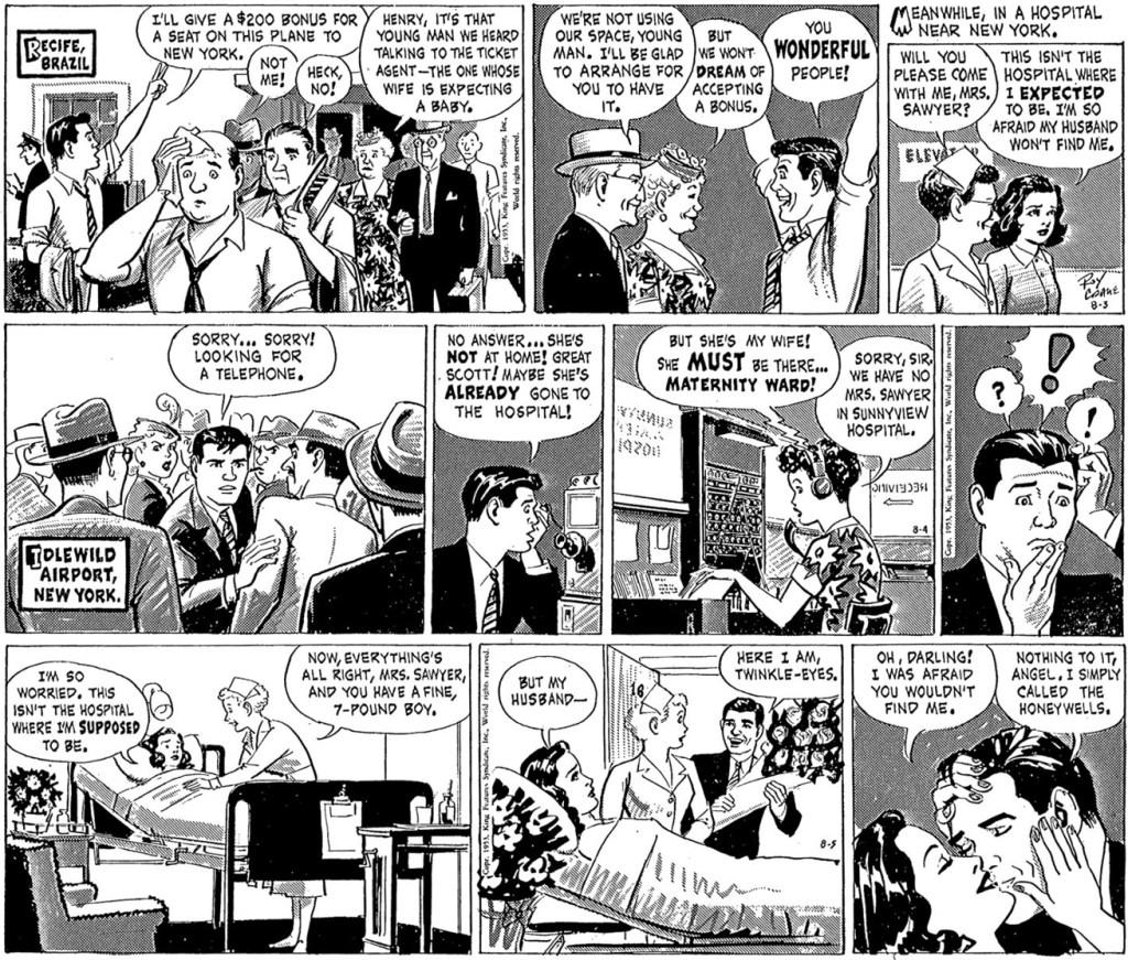 Motsvarande strippar i original ur episoden Christy's Baby, från 3-5 augusti 1953, inklusive en dagsstripp som saknades i Buzz Cooper.  ©KFS