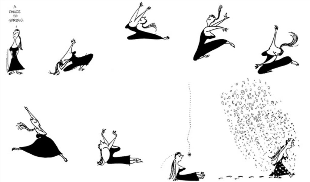 Jules Feiffer använde ofta sin ballerina för att markera de nya årstiderna. ©Feiffer