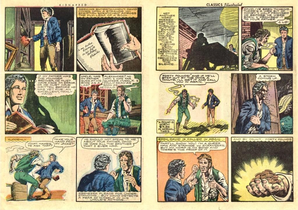 Motsvarande uppslag i original ur ur Classics Illustrated #46 Kidnapped (1948). ©Gilberton