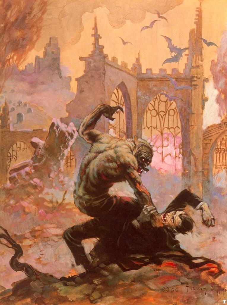 Målningen av Frazetta, som visar kampen mellan Wolfman och Dracula. Illustrationen var också omslag till Creepy #7, Duel of The Monsters (februari 1966). ©Frazetta