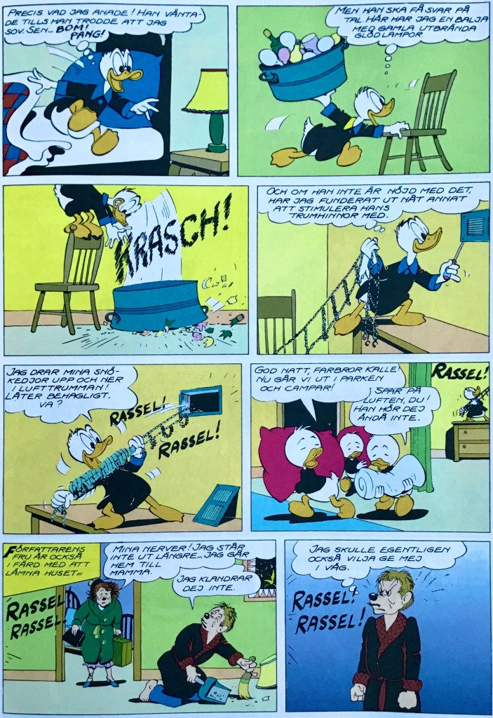Motsvarande sida i original från uppslaget ur Walt Disney's Comics and Stories #178 (1955). ©Disney