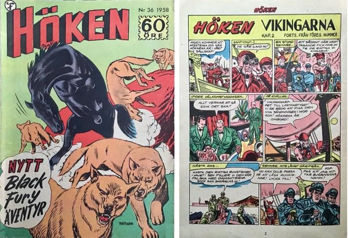 Omslag till Höken nr 36, 1958 och inledande sida ur Höken-serien. ©Formatic/EuropaPress