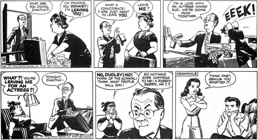 Ett par strippar i original ur episoden  Doldrums, från 20-21 september 1951.  ©KFS