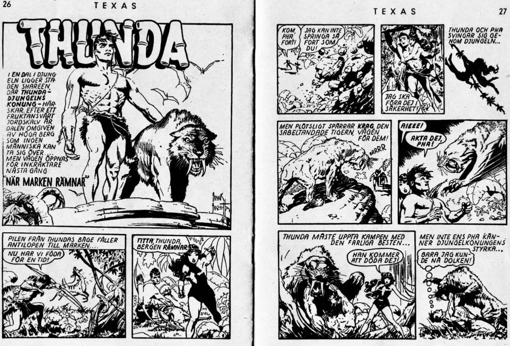 Ett uppslag med Thun'da ur ett nummer av serietidningen Texas nr 6, 1953. ©Press&Publicity