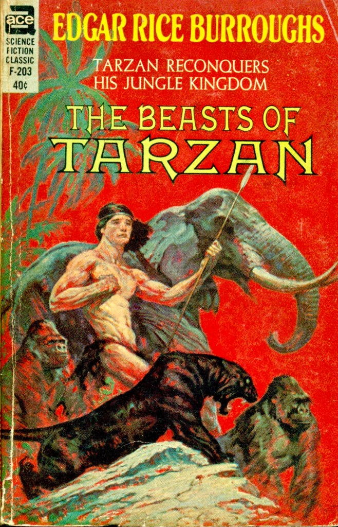 Omslag till The Beasts of Tarzan (Ace Science Fiction Classic, F-203), från januari, 1962. ©Ace Books