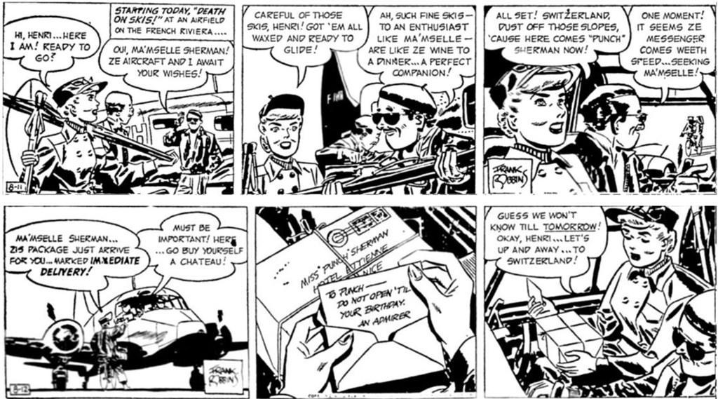 Motsvarande dagsstrippar i original från 11-12 augusti 1952. ©KFS