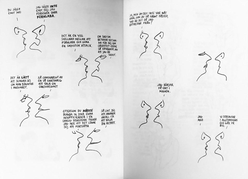 Ett uppslag ur Pojke, flicka (1962). ©Feiffer