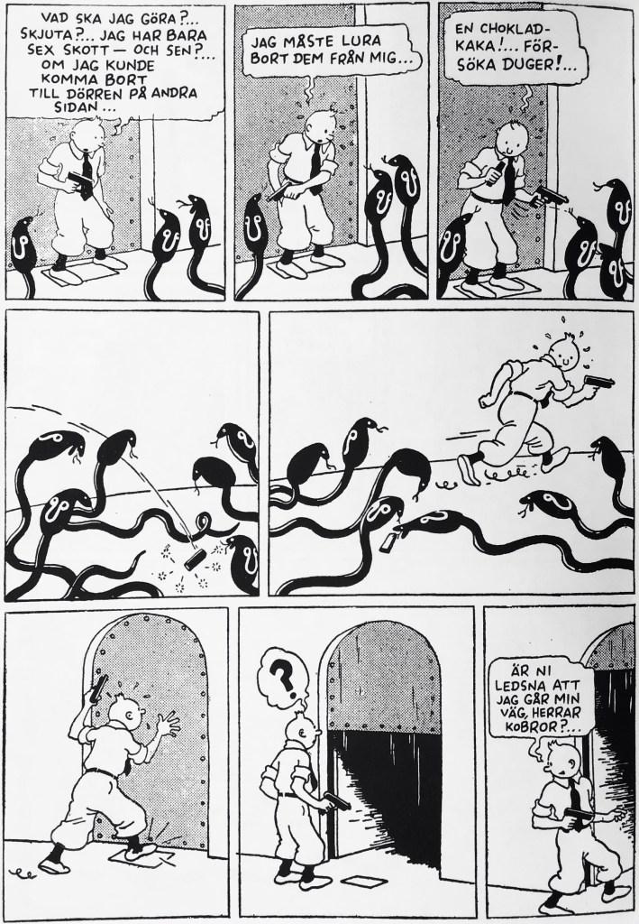 En sida från Tintin-episoden, ur Comics - serierna 100 år. ©Foundation Hergé/Hergé-Moulinsart