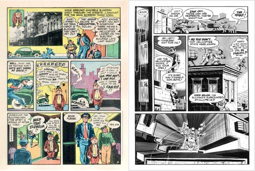 Motsvarande uppslag från 5 september 1948, den vänstra sidan ur The Spirit #1 (1966) med nya färger. ©Harvey/Eisner