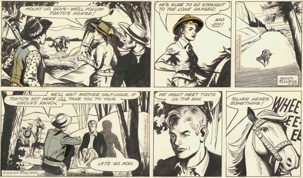 Original till ett par dagsstrippar av Charles Flanders med Lone Ranger från 24-25 juni 1957. ©KFS