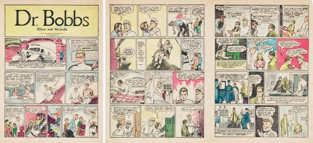 Motsvarande sidor i original, som återtryck av dagsstrippar från 1941 i Popular Comics #89 (juli 1943). ©Dell/KFS
