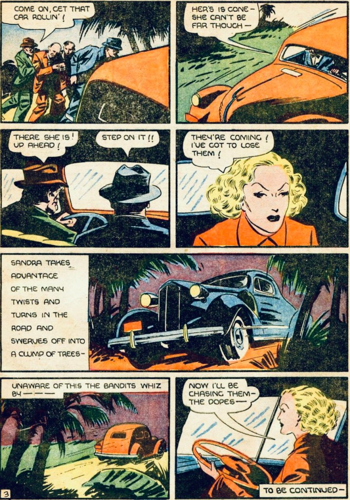 En sida med Sandra of 5he Secret Service ur More Fun Comics #34 (1938). ©National Allied