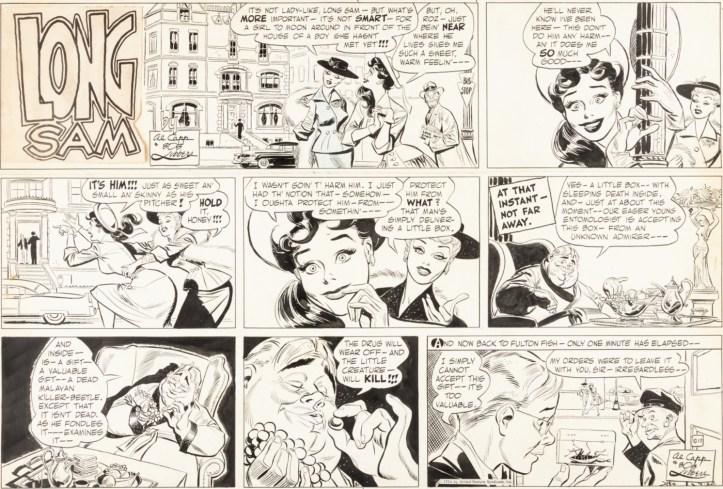 Original till en söndagsstripp med Long Sam från 17 oktober 1954. ©United