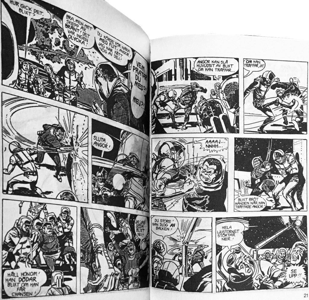 Ett uppslag med Blixt Gordon och episoden Skeppsbrutna på Venus ur Comix pocket nr 4. ©Bulls