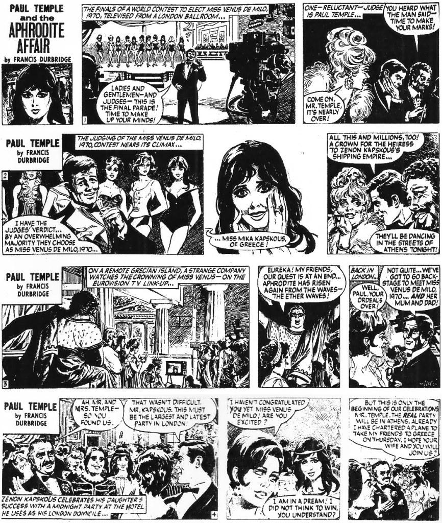 Motsvarande dagsstrippar i original från 29 april till 2 maj 1970. ©Evening News