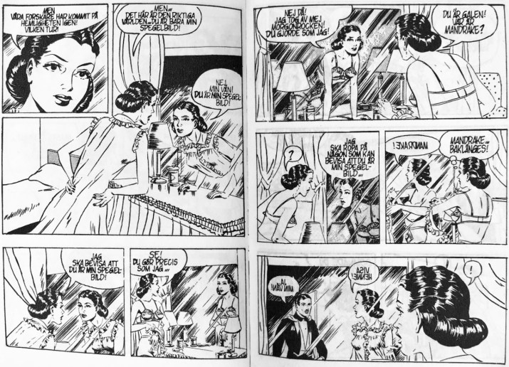 Ett uppslag med Mandrake och episoden Spegelvärlden, ur Comix nr 3. ©Bulls