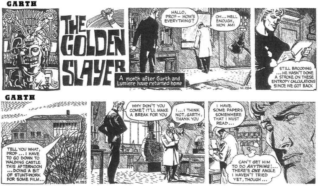 Två dagsstrippar ur inledningen av den den 45:é episoden med Garth, av Peter O'Donnell (manus) och John Allard/Steve Dowling (teckningar), stripparna W284 och W285, från 28 och 29 november 1963. ©Daily Mirror