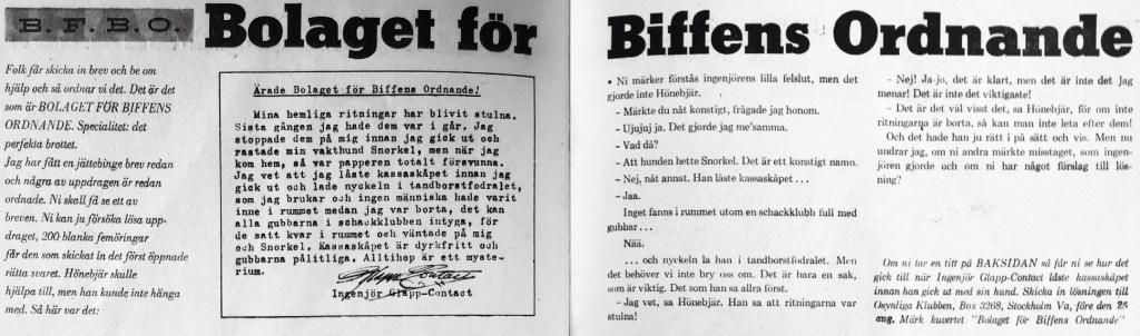 BFBO-tävlingen illustrerad på baksidan. ©Å&Å