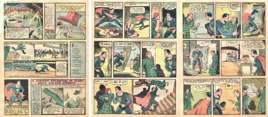 Inledande sidor ur den första Superman-serien, frånActionComics #1 (1938). ©DC/National