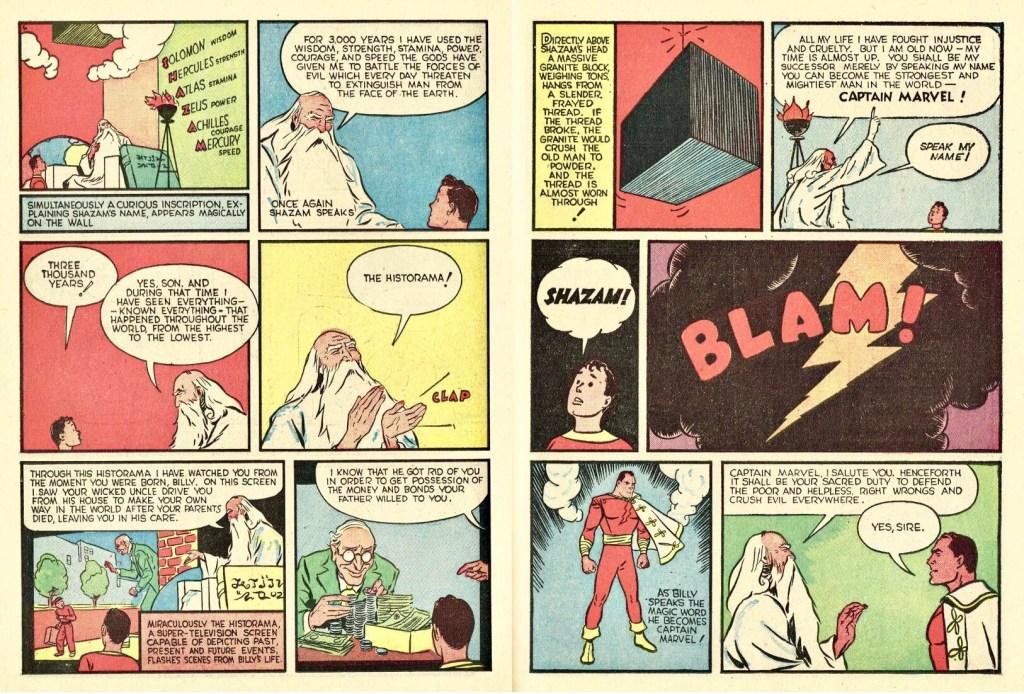 Ett till uppslag med Captain Marvel ur Whiz Comics #2 (1940). ©Fawcett
