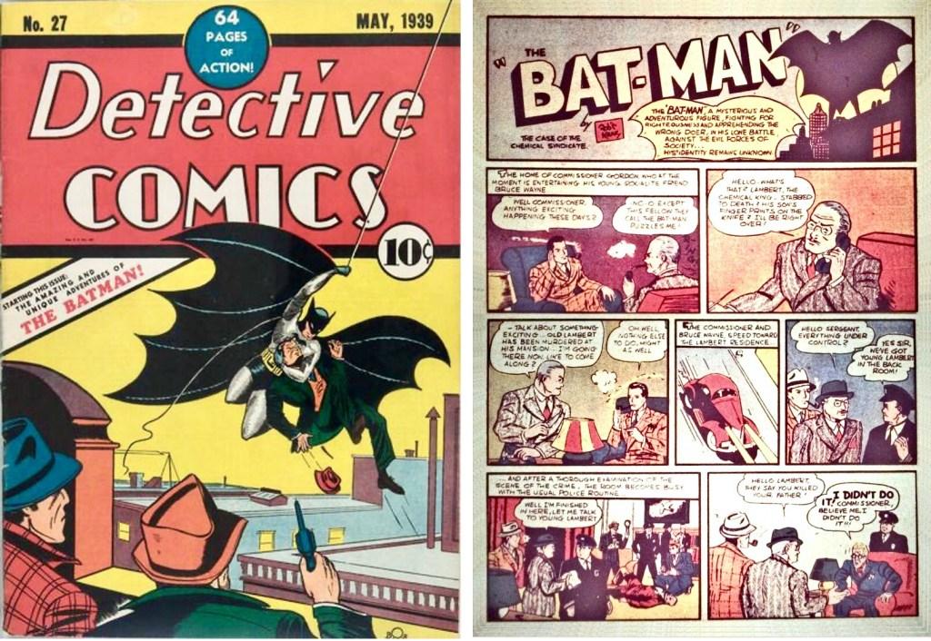 Omslag till Detective Comics #2 (1940) och inledande sida med Batman. ©Detective Comics