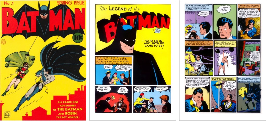 Omslag till Batman #1 (1940) och inledande serie om hur Batman kom till. ©Detective Comics