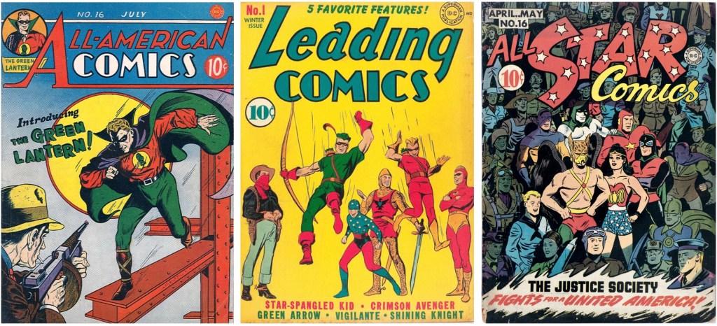 Green Lantern hade premiär i All-American Comics #16 (1940), Green Arrow var en del av innehållet i Leading Comics #1 (1941), och The Atom ingick i The Justice Society of America i All Star Comics #16. ©DC/National