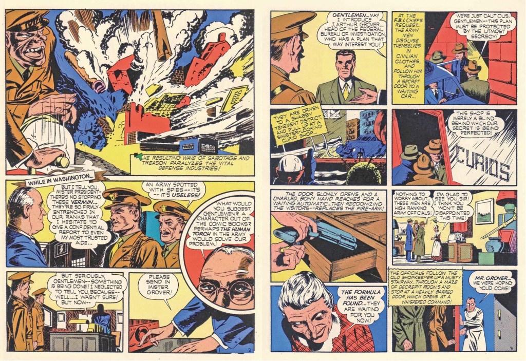 Inledande uppslag ur Captain America Comics #1 (1941). ©Timely
