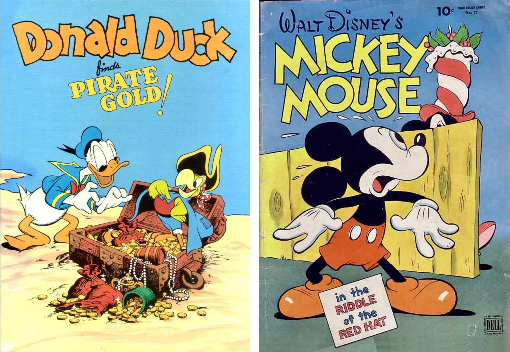 Donald Duck Fiends Pirate Gold, FCC #9 (1942) och Mickey Mouse in the Riddle of the Red Hat, FCC #79 (1945). ©Dell