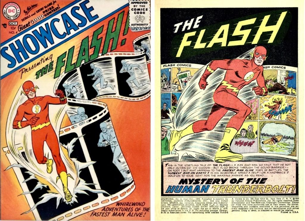 Omslag till Showcase #4 (1956) och inledande sida med The Flash av Robert Kanigher (manus), Carmine Infantino (skiss) och Joe Kubert (tusch). ©DC/National