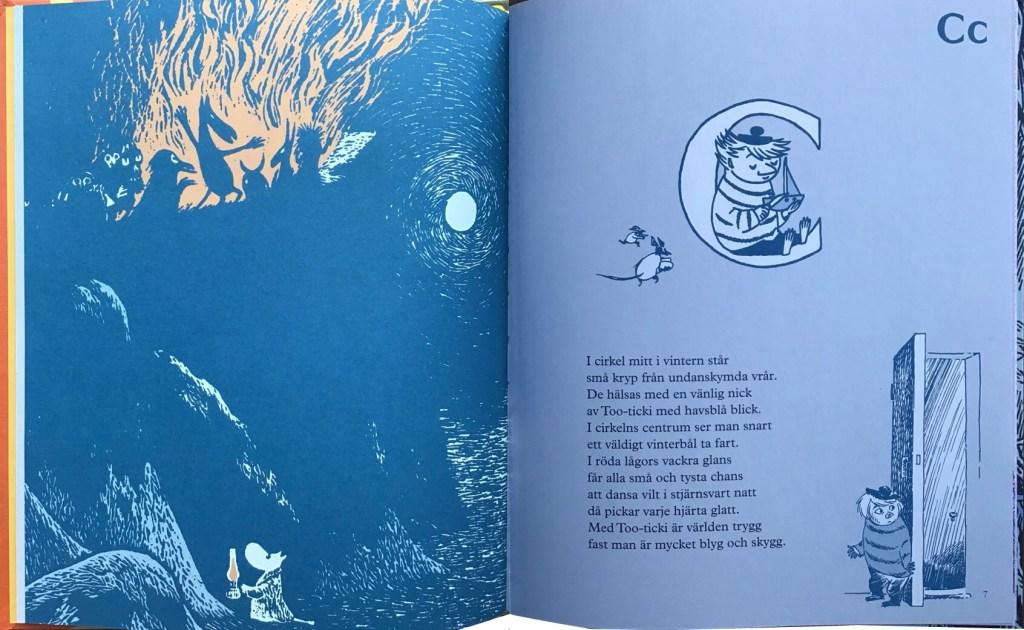 Mumindalens alfabet-uppslaget med bokstaven C. ©Bonnier/Carlsen
