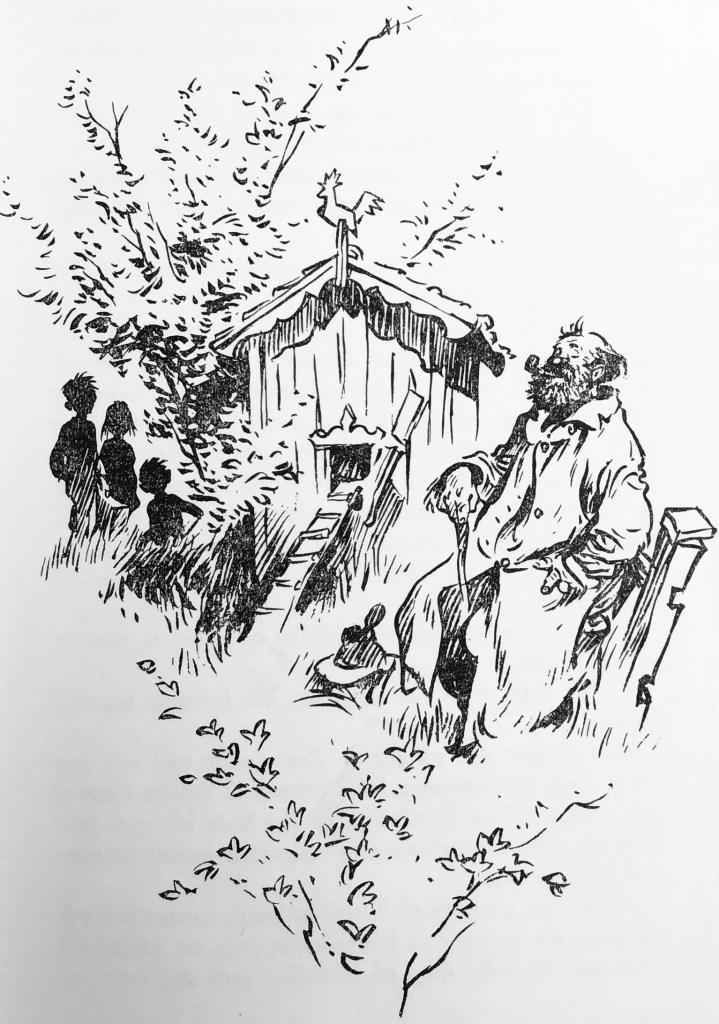 Det lilla hönshuset stod under en syrenbusken och hade röda väggar och vita knutar som ett riktigt litet hus. Det var till och gardiner i fönstret. Alldeles bredvid satt en man på staketet.
