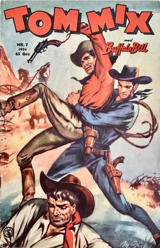 Omslag till Tom Mix nr 7, 1954. ©Serieförlaget