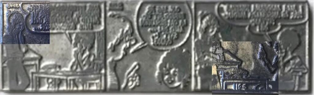 En tryckplåt med Poeten och Lillemor, med inklippt närbild på numreringen. ©PIB