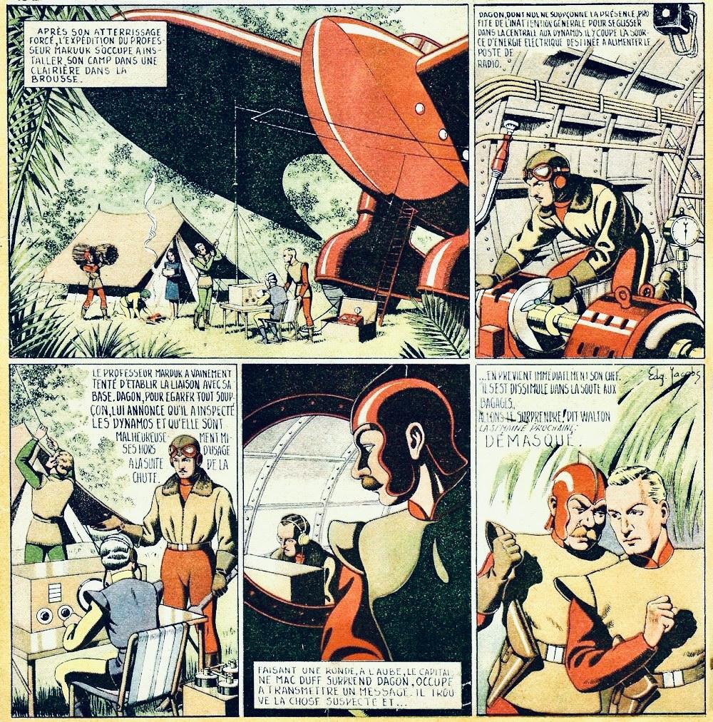 Den belgiska tidningen Bravo publicerade Flash Gordon, men när nazisterna förbjöd import av serien fick Jacobs avsluta serien själv. ©Bravo