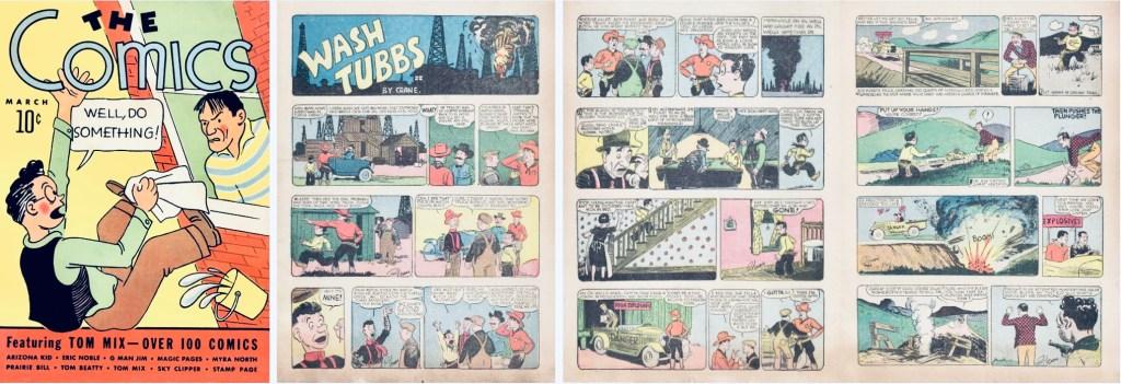 Omslag till The Comics #1 (1937) och inledande sidor med Wash Tubbs. ©Dell/NEA