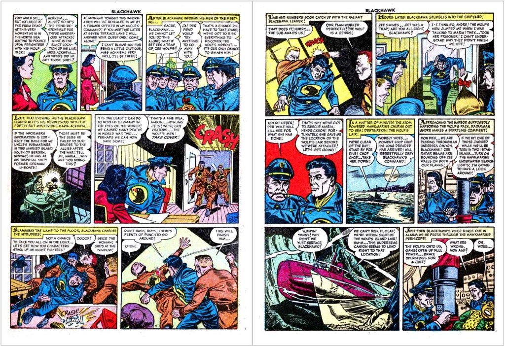 Ett uppslag ur Blackhawk #87 (1955) med motsvarande seriesida i original. ©Quality/Comic Favorites