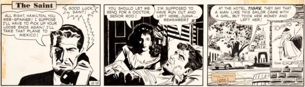 Original till en dagsstripp med The Saint från 10 oktober 1960. ©NYHT
