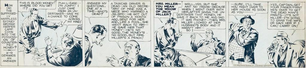 Original till en stripp med Secret Agent X-9 av Alex Raymond från 19 mars 1935. ©KFS