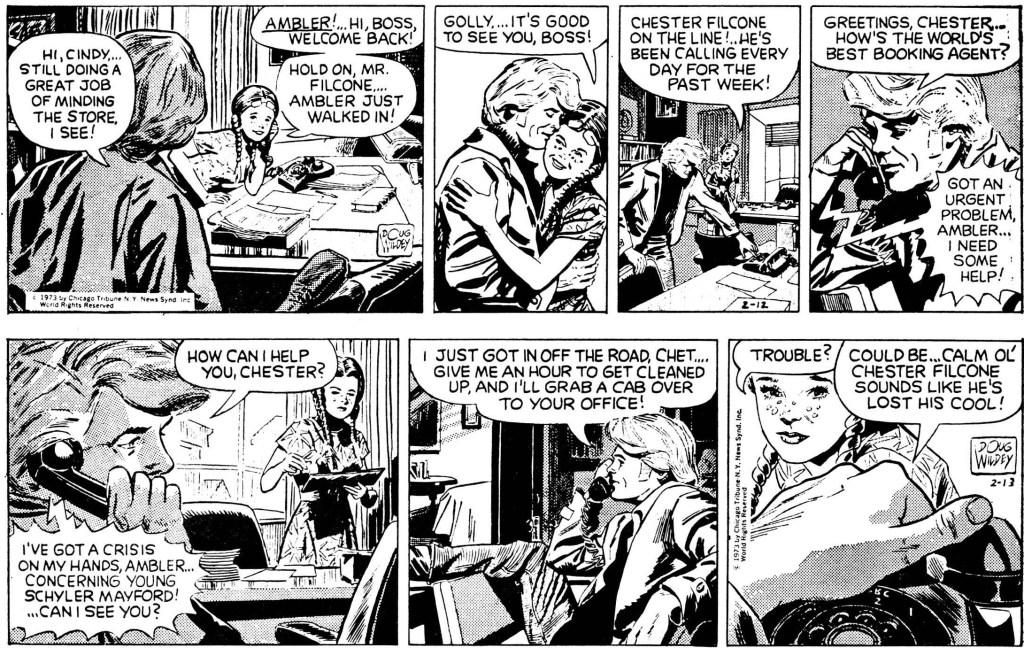 Ambler av Doug Wildey: Inledande två dagsstrippar ur episoden från 12-13 februari 1973. ©CTNYNS